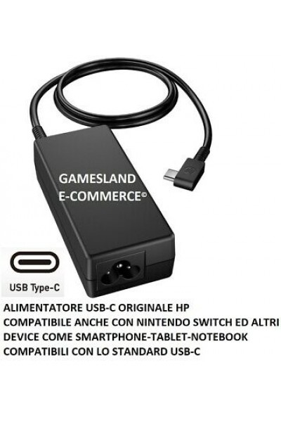 ALIMENTATORE NERO ORIGINALE HP 920068-850 45W USB-C NUOVO 1 ANNO GARANZIA