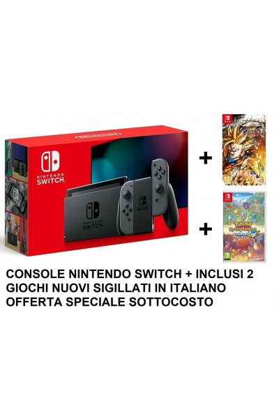 CONSOLE NINTENDO SWITCH GREY NUOVA+ DRAGONBALL FIGHTERZ+ POKEMON MYSTERY DUNGEON