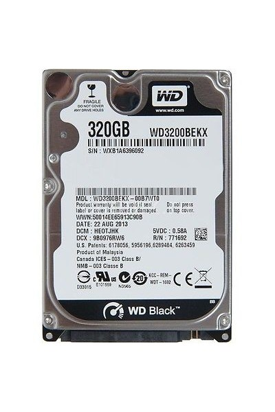 HARD DISK SATA 320 GB WD BLACK WESTERN DIGITAL WD3200BEKX NUOVO SIGILLATO