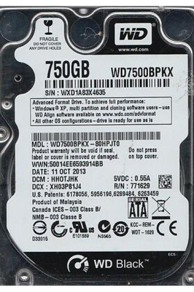 HARD DISK SATA 750 GB WD BLACK WESTERN DIGITAL WD7500BPKX NUOVO SIGILLATO