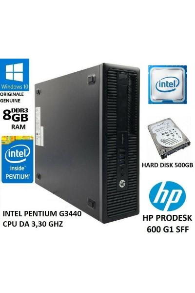 HP PRODESK 600 G1 SFF INTEL PENTIUM G3440 DA 3.3 GHZ-8GB RAM-500GB HD-DVD-WIN 10