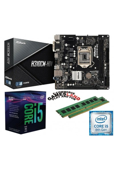 KIT AGGIORNAMENTO PC i5-8500 + MAINBOARD ASROCK H310CM-HDV + 16GB RAM DDR4 2400