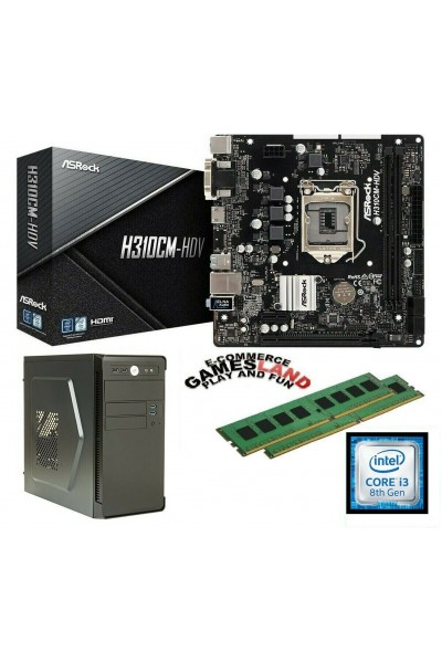 KIT PC SEMI-ASSEMBLATO: CASE + i3-8100 + MAINBOARD ASROCK H310CM-HDV + 8GB DDR4