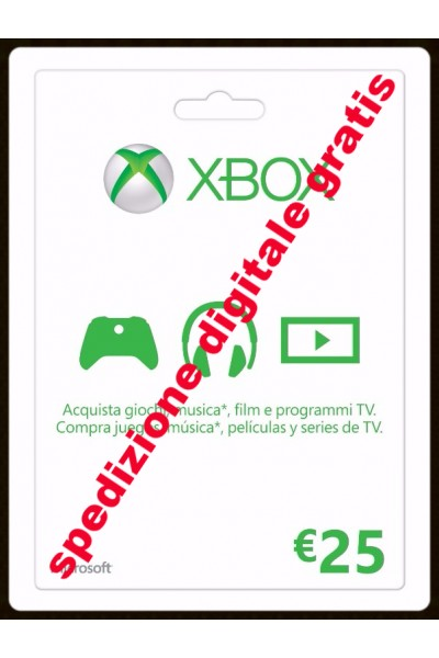 MICROSOFT POINTS 2100 -XBOX GIFT CARD 25 € PER XBOX 360-XBOX ONE SPEDIZIONE DIGITALE IMMEDIATA
