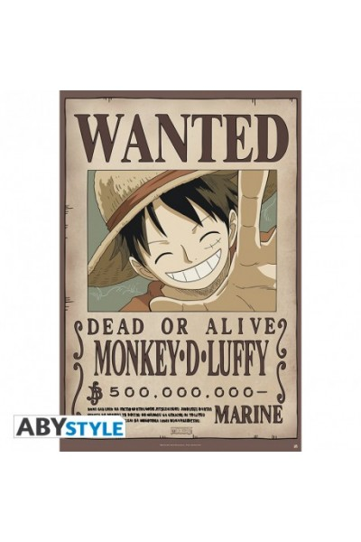 "ONE PIECE - Poster ""Wanted Luffy new"" (dimensioni 91.5 x 61 cm)Prodotto Originale su licenza ufficiale"